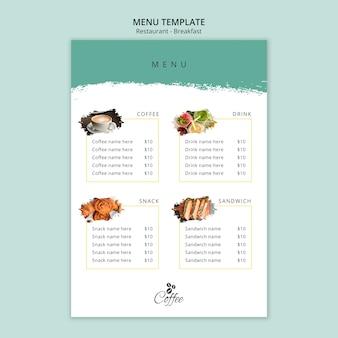 Modèle de menu de restaurant de petit déjeuner minimaliste