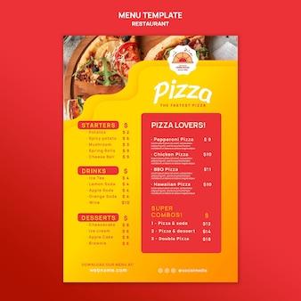 Modèle de menu de restaurant de pizza