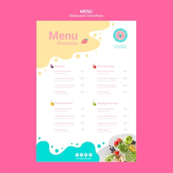 Modèle de menu de restaurant smoothie