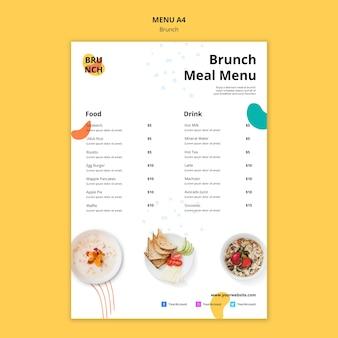 Modèle de menu avec thème brunch