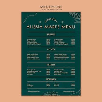 Modèle de menu vertical pour les locations de vacances de luxe