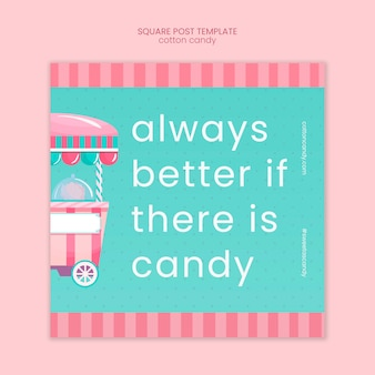 Modèle de message carré magasin de bonbons