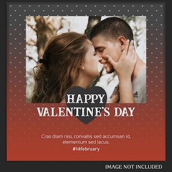 Modèle de message instagram créatif moderne romantique saint valentin et maquette de photo