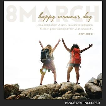 Modèle de message instagram pour le jour de la femme heureuse et le 8 mars
