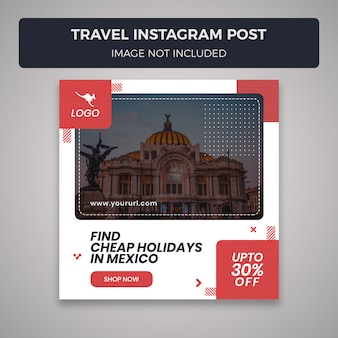 Modèle de message instagram pour les médias sociaux de voyage