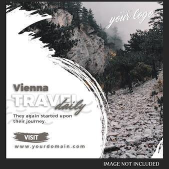 Modèle de message instagram pour voyage, vacances, concept lifestyle