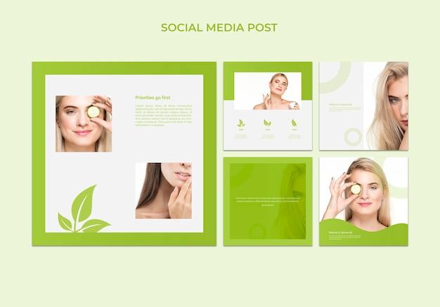 Modèle de message de médias sociaux avec le concept de beauté