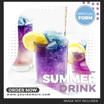 Modèle de message de nourriture et de boisson instagram