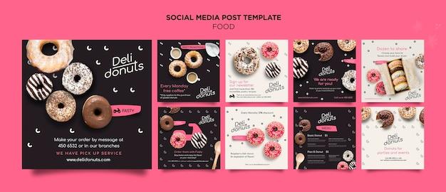 Modèle de messages instagram délicieux beignets
