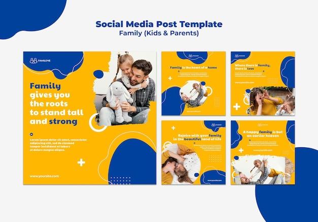Modèle de messages instagram familiaux avec photo