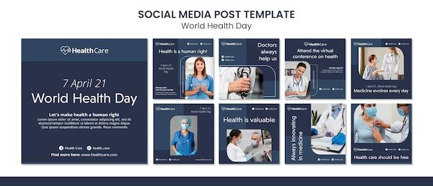 Modèle de messages instagram de la journée mondiale de la santé avec photo