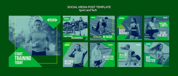 Modèle de messages instagram sport et technologie