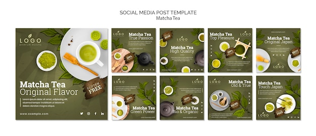 Modèle de messages de thé matcha