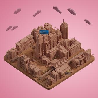 Modèle de miniatures de villes 3d
