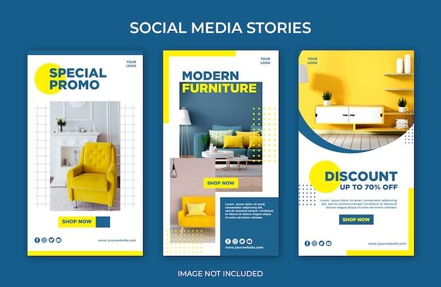 Modèle de mobilier moderne d'histoires instagram de médias sociaux