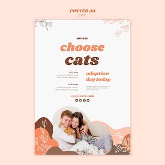 Modèle de modèle d'affiche de chats