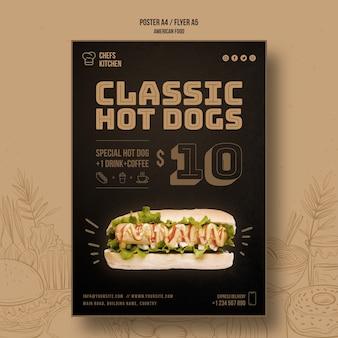 Modèle de modèle de hot dogs classique américain