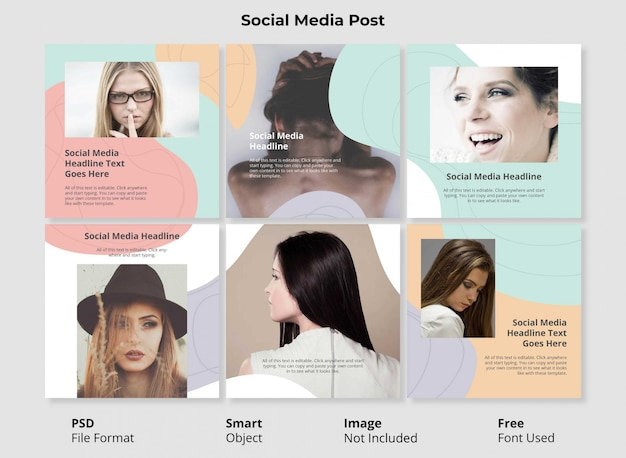 Modèle de modèle de portrait modifiable bannière de publication sociale conception minimaliste forme abstraite simple et colorée avec une forme fluide et liquide