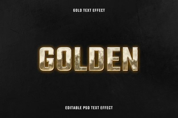 Modèle modifiable d'effet de texte 3d doré psd