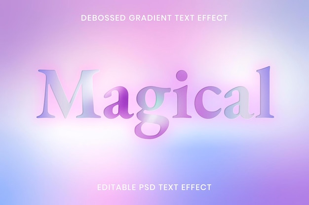 Modèle modifiable d'effet de texte dégradé en creux psd