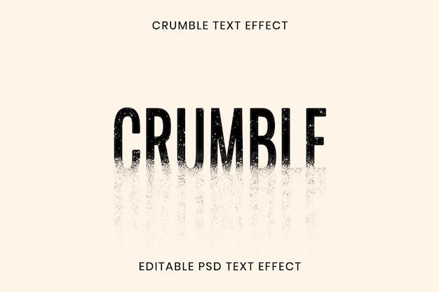 Modèle modifiable d'effet de texte émietté psd