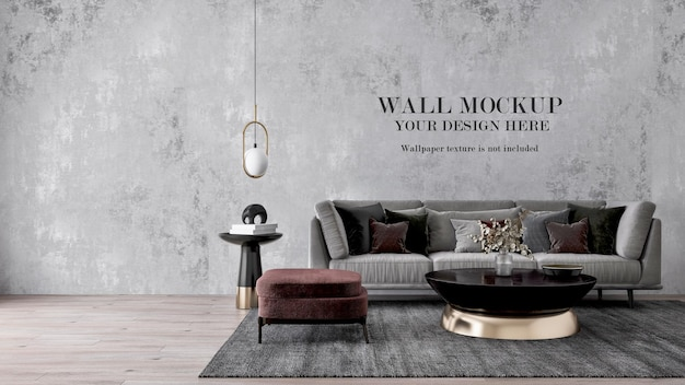 Modèle de mur derrière un canapé gris moderne