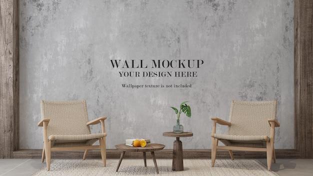 Modèle mural avec des meubles en rotin à l'intérieur