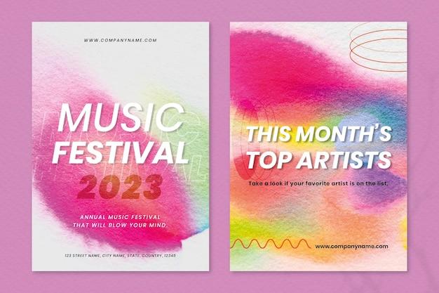 Modèle de musique colorée de chromatographie ensemble double affiche publicitaire événement psd