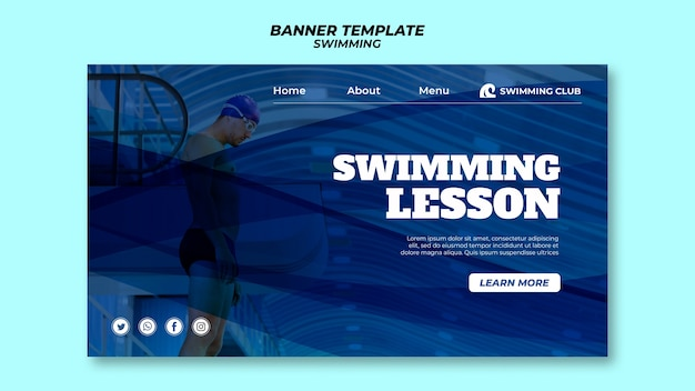 Modèle de natation pour le thème de la bannière