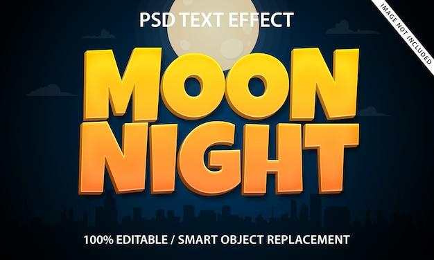Modèle de nuit de lune avec effet de texte