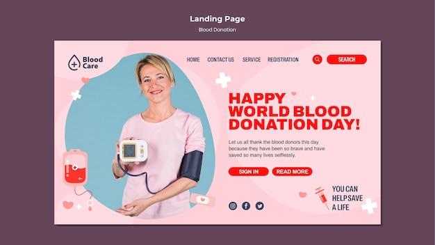 Modèle de page d'accueil de don de sang