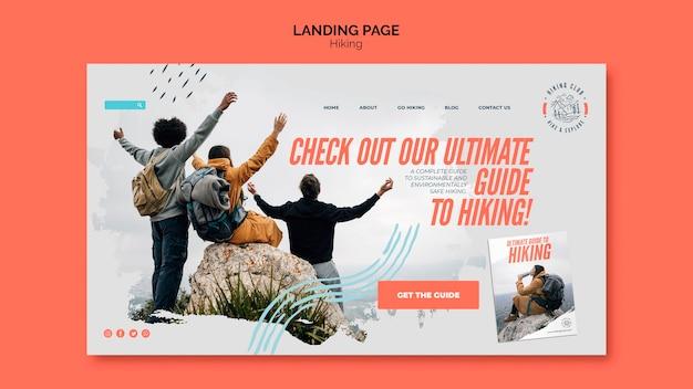 Modèle de page d'atterrissage de concept de randonnée