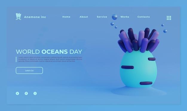 Modèle de page d & # 39; atterrissage de la journée mondiale des océans avec illustration de rendu 3d de l & # 39; anémone de mer