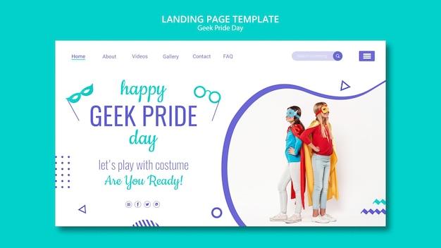 Modèle de page d'atterrissage joyeux geek