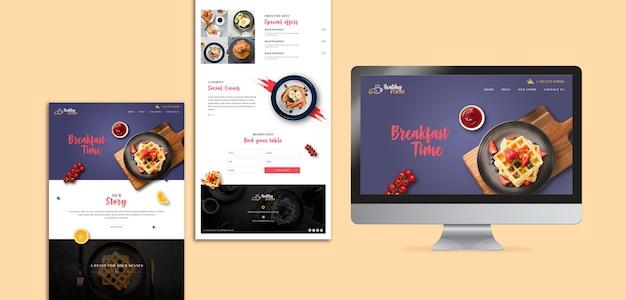 Modèle de page d'atterrissage de restaurant de petit déjeuner