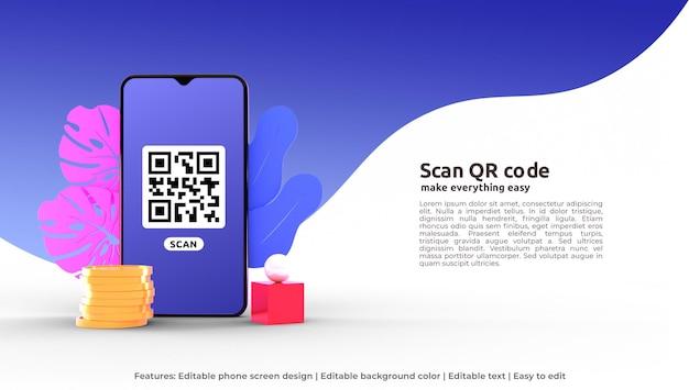 Modèle de page de destination 3d de scan qr code