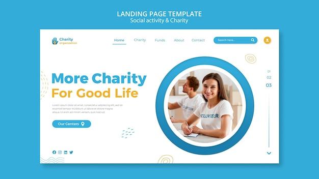 Modèle de page de destination des activités caritatives