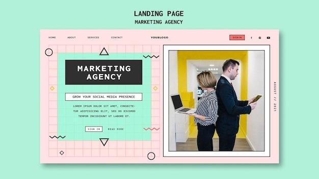 Modèle de page de destination d'agence de marketing sur les réseaux sociaux