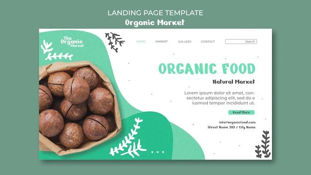 Modèle de page de destination d'aliments biologiques