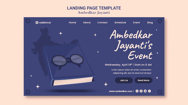 Modèle de page de destination ambedkar jayanti