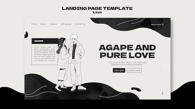 Modèle de page de destination d'amour en noir et blanc