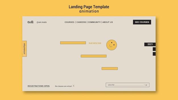 Modèle De Page De Destination D'animation Psd gratuit