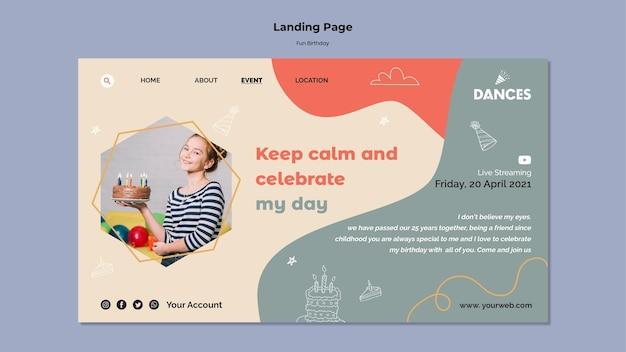 Modèle de page de destination d'anniversaire amusant