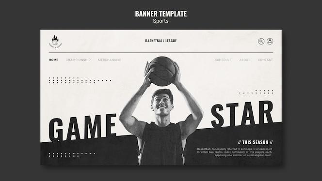 Modèle de page de destination d'annonce de basket-ball