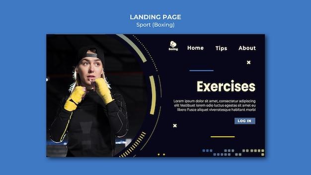 Modèle de page de destination d'annonce de boxe
