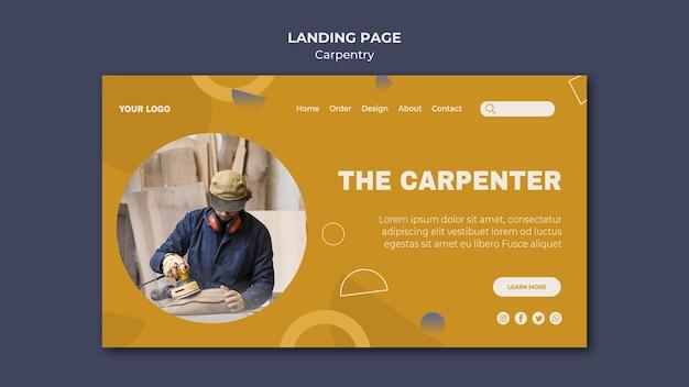 Modèle de page de destination d'annonce de charpentier