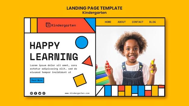 Modèle de page de destination d'annonce de maternelle