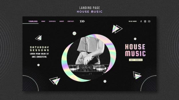 Modèle de page de destination d'annonce de musique house