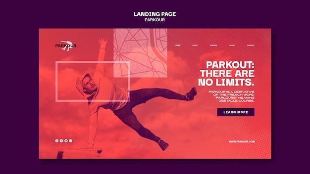 Modèle de page de destination d'annonce parkour