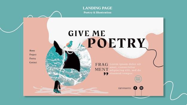 Modèle de page de destination d'annonce de poésie
